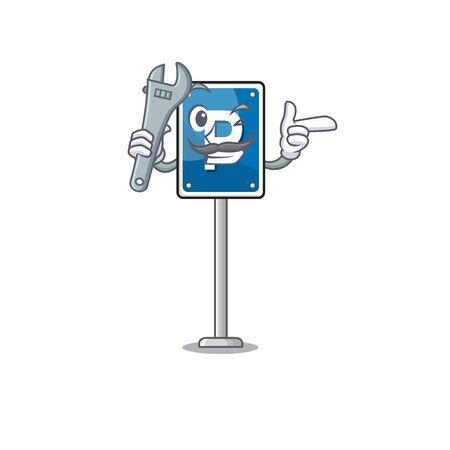 Mechanic parking sign character shape the cartoon vector illustration