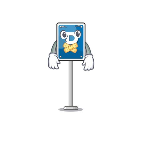 Silent parking sign character shape the cartoon