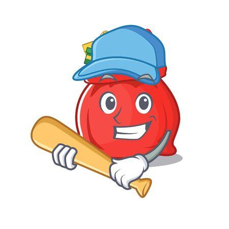 Playing baseball santa claus bag on a cartoon
