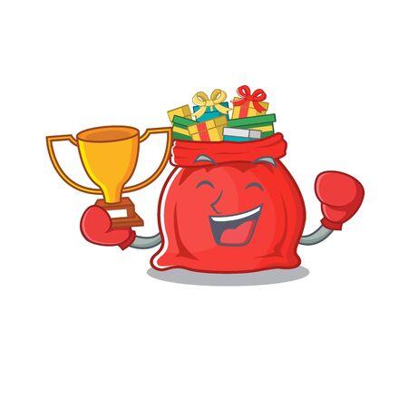 Boxing winner toy santa claus bag cartoon shape Vector Illustration