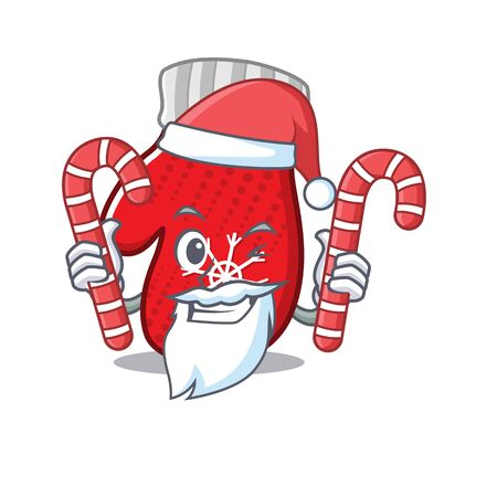 Santa with candy christmas mittens are folded with characters vector illustration