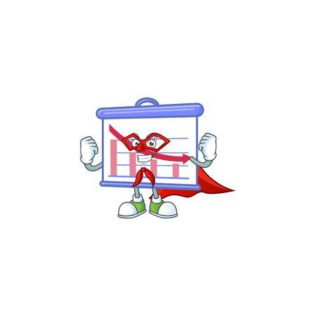 Super hero down graphic board in character mascot Çizim
