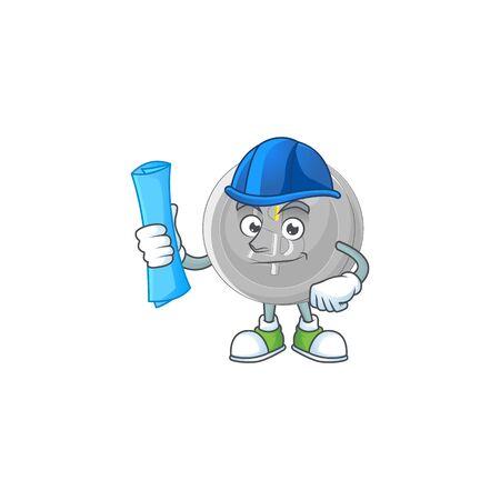Architect silver coin character mascot in cartoon vector illustration Stock Illustratie