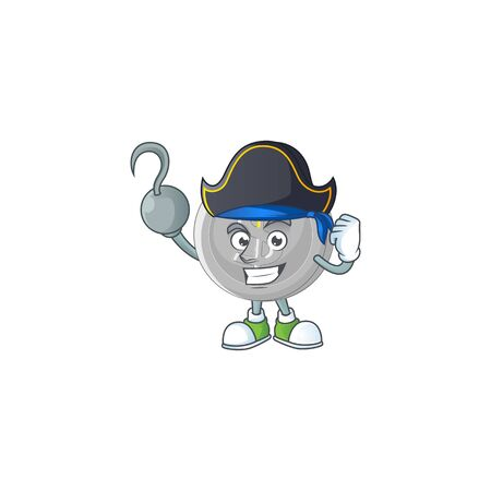 Pirate silver coin cartoon character for currency Illustration
