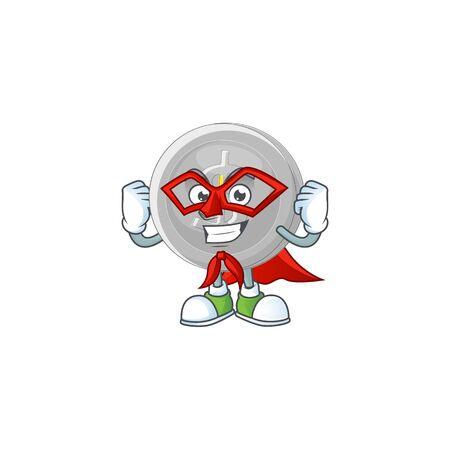 Super hero silver coin character mascot in cartoon
