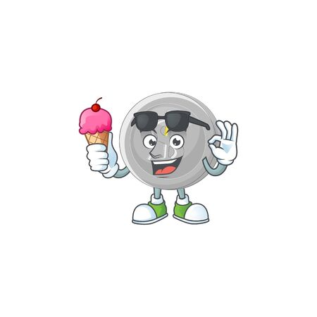 With ice cream silver coin character mascot in cartoon Ilustracja