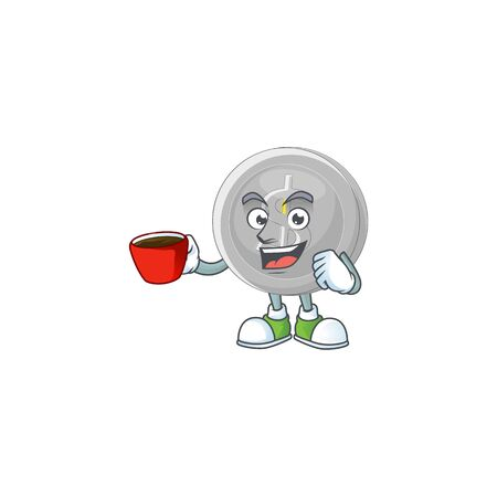 Drinking in cup silver coin character mascot in cartoon