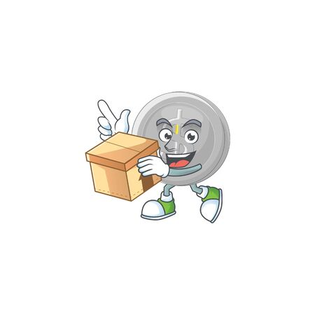 With box silver coin character mascot in cartoon vector illustration