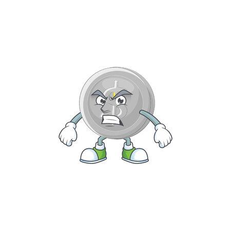 Scream silver coin character mascot in cartoon vector illustration