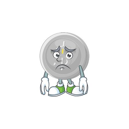 Afraid silver coin currency for bill payment Иллюстрация