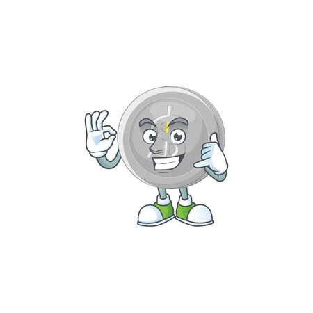 Call me silver coin cartoon character with mascot vector illustration