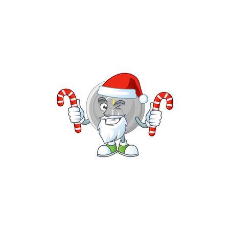 Santa with candy silver coin cartoon character with mascot Çizim