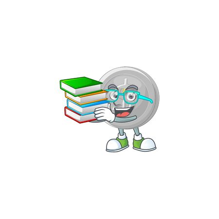 Student with book silver coin cartoon character with mascot 向量圖像