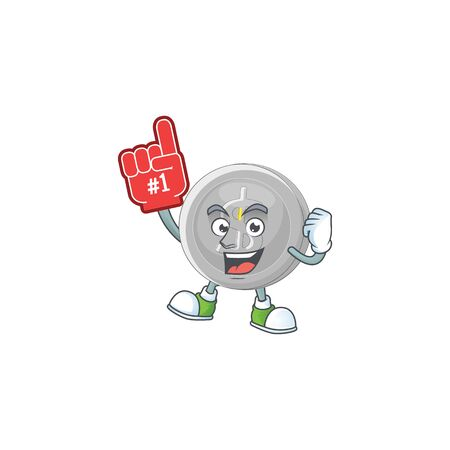 Foam finger silver coin cartoon character with mascot