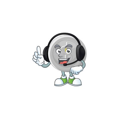 With headphone silver coin cartoon character with mascot vector illustration Stock Illustratie