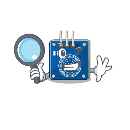 Detective touch sensor with the cartoon shape vector illustration