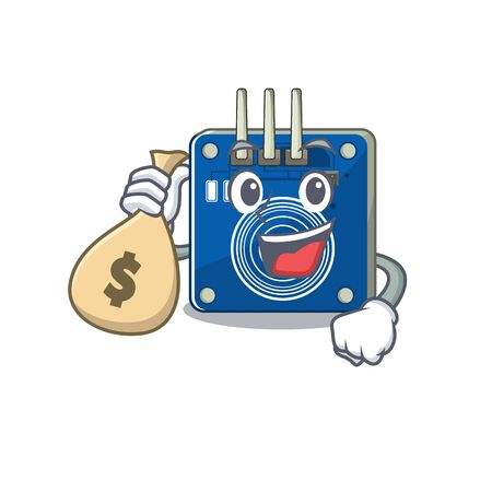 With money bag touch sensor isolated in the character vector illustration Illustration