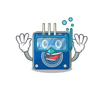 Diving touch sensor with the cartoon shape vector illustration