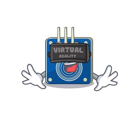Virtual reality touch sensor clings to mascot wall vector illustration