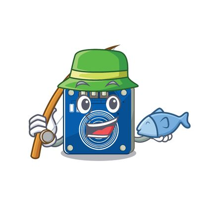Fishing touch sensor clings to mascot wall vector illustration