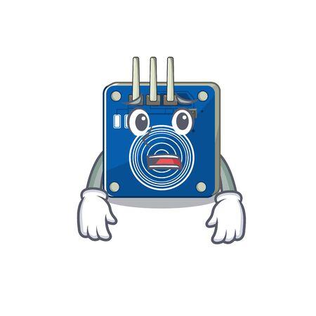 Afraid touch sensor clings to mascot wall vector illustration