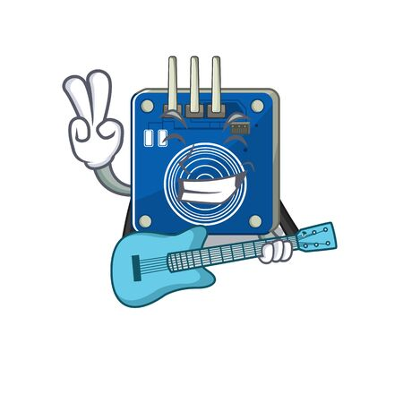 With guitar touch sensor clings to mascot wall vector illustration