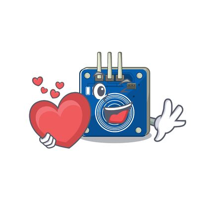 With heart touch sensor clings to mascot wall vector illustration