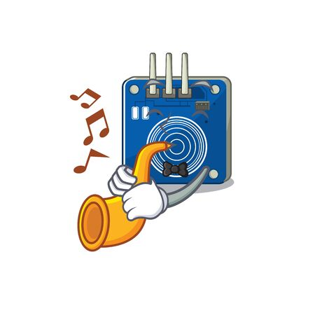 With trumpet touch sensor clings to mascot wall vector illustration