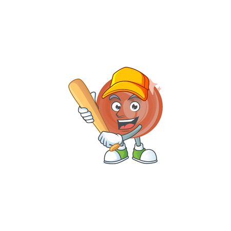 Playing baseball bronze coin cartoon character for collection. vector illustration Çizim