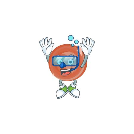 Diving bronze coin cartoon character with mascot