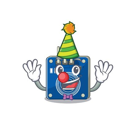 Clown touch sensor toy above cartoon chair vector illustration