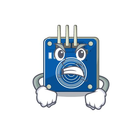 Angry touch sensor clings to mascot wall vector illustration