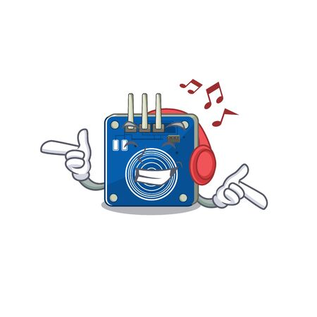 Listening music touch sensor clings to mascot wall vector illustration Ilustracja