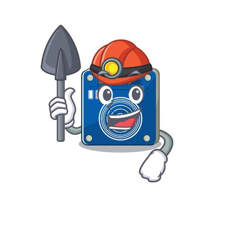 Miner touch sensor clings to mascot wall vector illustration