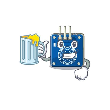 With juice touch sensor clings to mascot wall vector illustration