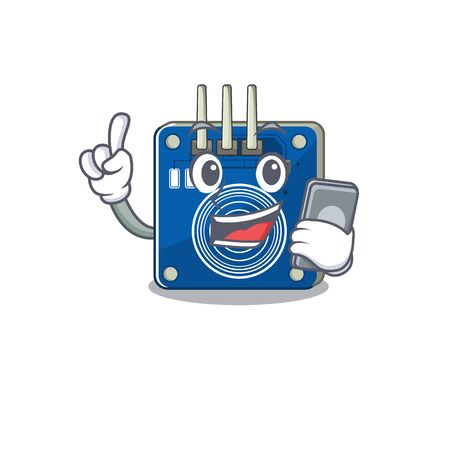 With phone touch sensor isolated in the character vector illustration 向量圖像