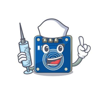Nurse touch sensor with the cartoon shape vector illustration Çizim