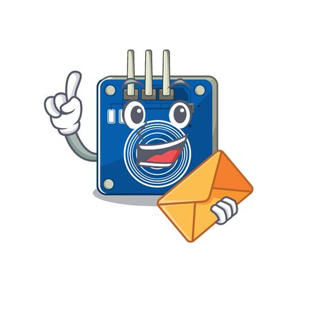 With envelope touch sensor with the cartoon shape vector illustration Banco de Imagens - 130800204