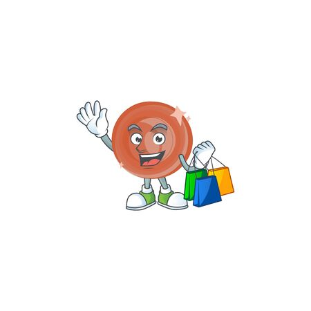 Shopping bronze coin cartoon character with mascot vector illustration Illustration