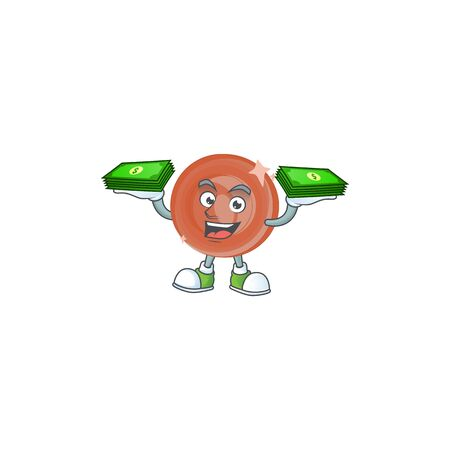With money bag bronze coin cartoon on white background Archivio Fotografico - 130800235