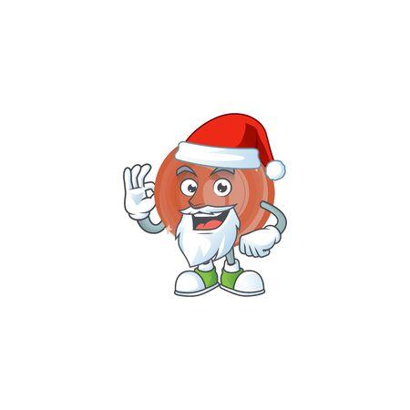 Santa bronze coin cartoon character mascot style.