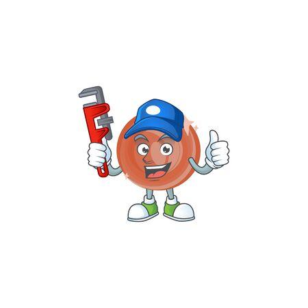 Plumber bronze coin cartoon character mascot style. Ilustracja
