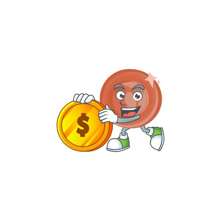 Bring coin bronze coin cartoon character mascot style.