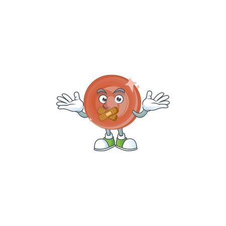 Silent bronze coin cartoon character mascot style.