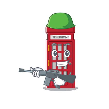 Army telephone booth character shape on mascot vector illustrtaion  イラスト・ベクター素材