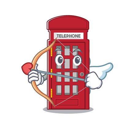 Cupid telephone booth character shape on mascot Stock Illustratie