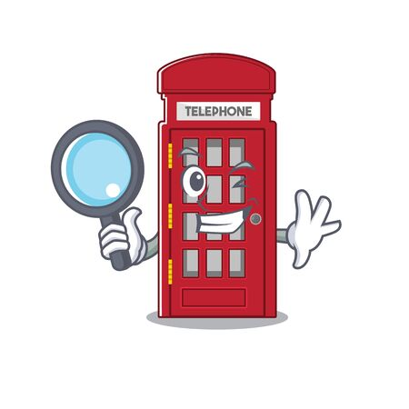 Detective telephone booth on the roadside character Stock Illustratie