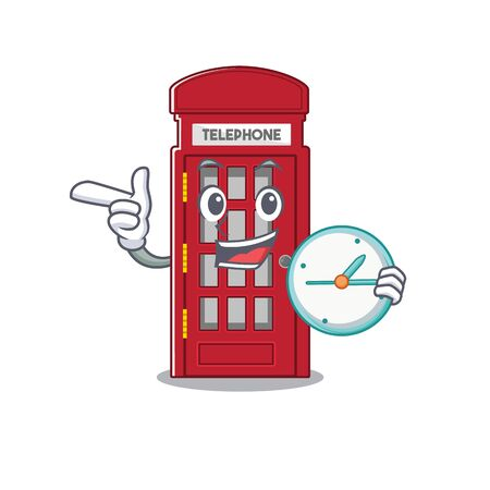 With clock telephone booth on the roadside character vector illustration