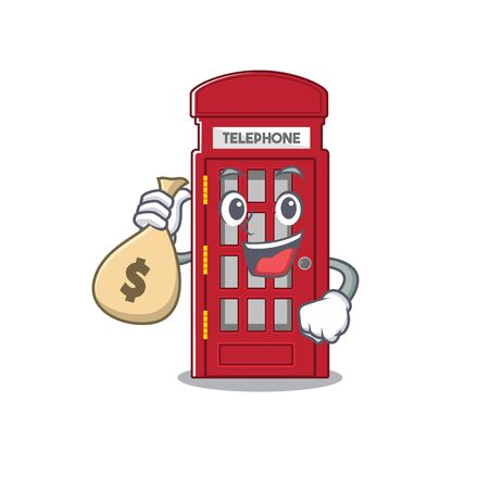 With money bag telephone booth character shape on mascot