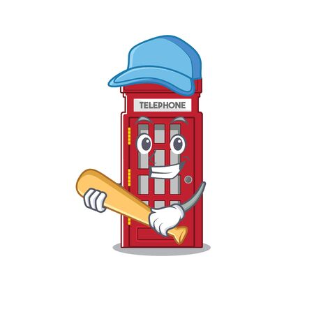 Playing baseball telephone booth character shape on mascot vector illustrtaion Banque d'images - 130805697